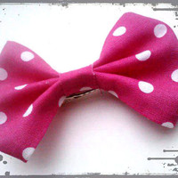 Rockabilly Small Hair Bow- Pretty in Pink Polka Dots (READY TO SHIP)