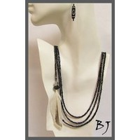 A Feather for this Luscious Onyx Three Strand Necklace Set
