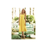 Yellow Halter Ruched Sash Tea Length Chiffon Bridesmaid Dress - Star Bridal Apparel