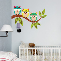 "Three Owls Branched Vinyl Wall Art Decal Sticker 36""x24"""