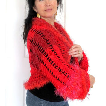 Valentine red shrug, hand knit sweater shrug, cozy knit outerwear