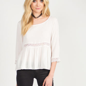 Crochet Detail Simple Top - Ivory - Ivory /