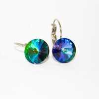 Green Sphinx Swarovski Rivoli on a French Hypoallergenic Stainless Steel Clip