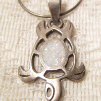 Sterling Silver with Fire Opal Turtle Pendant with Sterling Silver Chain