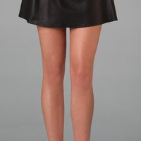 RED Valentino Short Leather Skirt with Bow