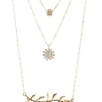 Leaf & Daisy Layering Necklaces - 3 Pack by Charlotte Russe - Gold