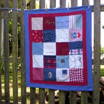 Baby Clothes MEMORY QUILT Custom Order...family heirloom keepsake quilt from baby clothes