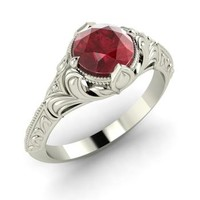 Ruby Ring in 14k White Gold | 1.01 ct. tw. | Round Cut | Fuerte | Diamondere