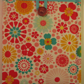 Small Tablet/E-Reader Sleeve--Multi-Coloured Floral, Padded