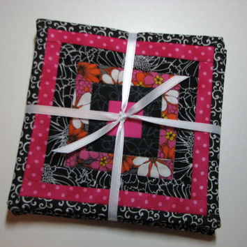 Quilted Coasters, Set of 4--Pink and Black Log Cabin