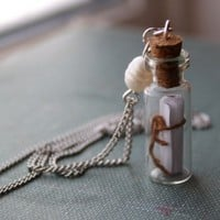 "Buy Valentines Day SALE- Message in a Bottle Necklace- glass bottle necklace with secret message and a pearl. 18"" silver chain on Shoply."