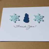 Winter Thank You Cards- Snowman, Snowflakes