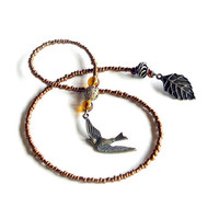 Bird book thong, beaded bookmark - copper glass beads & antique bronze leaf