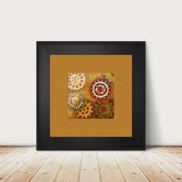 Steampunk Gears Print with mustard yellow background, from my original painting choice of print sizes and finish