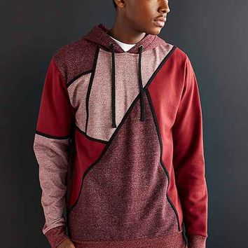 Feathers Colorblock Pullover Hooded Sweatshirt - Maroon