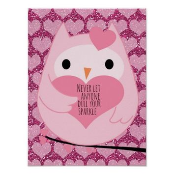 Pink Hearts Owl with Motivational Sparkle Quote