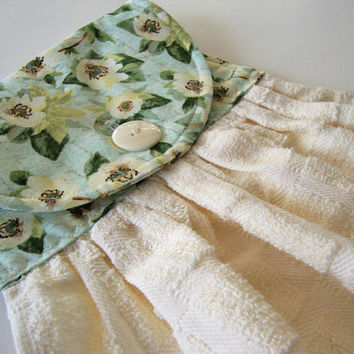 Button-Top Dish Towel - Quilted Hanging Kitchen Towel - Aqua Floral on Ivory Dish Towel - Custom Kitchen Towel
