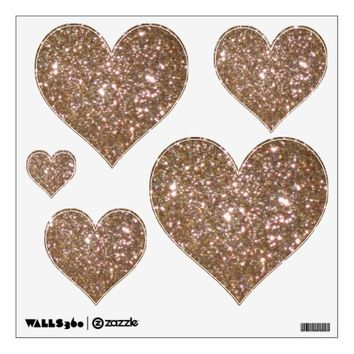Gold Glittery Look Heart: Wall Decals