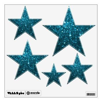 Cyan Glittery Look Stars: Wall Decals