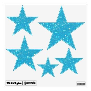 Baby Blue Glitzy Look Stars: Wall Decals