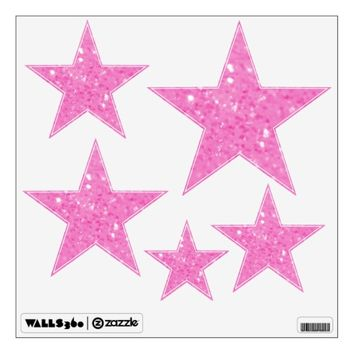 Pink Glitzy Look Stars: Wall Decals