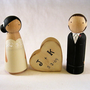 Personzalized Wood Doll Wedding Cake Topper by peanutbutterbandit