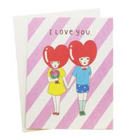 I Love You Heart Heads Cards