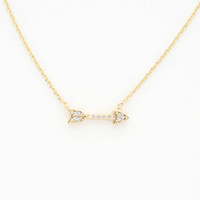 Tiny Pave Arrow Pendant - One Size / Gold