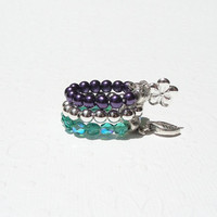 Stretchy Rings - Silver, Purple and Teal, Stacking Rings