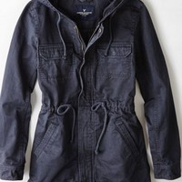 AEO Women's Canvas Utility Jacket (Grey)