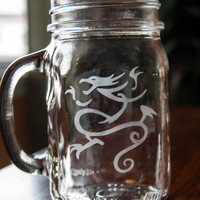 Sick of it all Etched Mason Jar With Handle