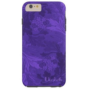 Classic Purple Floral Swirled Leaves iPhone 6 Case