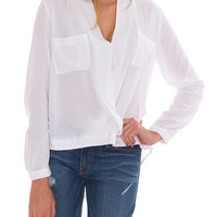 Get It Real Long Sleeve Blouse Top White