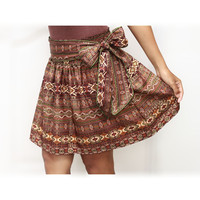 Dark Brown Mini Skirt Royal Luxury and Gold with Sash Belt