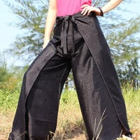 Thai Silk Yoga Harem Pants Fisherman Hippie Pants Wrap Gypsy Pants Plus Size Women Pants: Art on Fabric