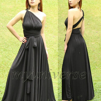 Convertible Wrap Dress Black Infinity Dress Maxi Dress/ Evening Plus Size Clothing Full Long Dress