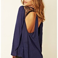 Blue Life - Cut-Out Drape Top