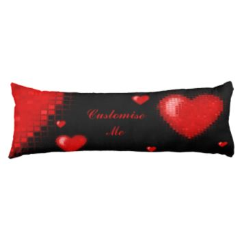 Tiled Mosaic Heart (Bright Red) Body Pillow