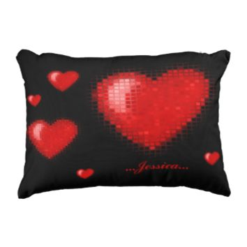 Tiled Mosaic Heart (Bright Red) Accent Pillow