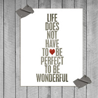 Wonderful Life original digital print in textured grey & red - 8x10 Gifts Under 25