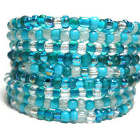 Memory Wire Bracelet Teal and Clear Beaded Wrap Bracelet