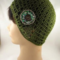 Olive Green Crochet Hat,  Open Work, Beautiful Brooch