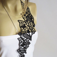 Black Lace necklace women accesories collar necklace Statement Jewelry  Gift İdeas Bib necklaces collar necklace