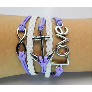 Purple bracelet,Anchor bracelet,infinity bracelet,Love bracelet,white leather Bracelet,Couples bracelet,lover bracelet,leather bracelet,hipsters jewelry,braided bracelet