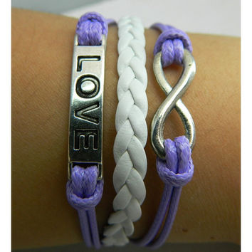 Violet bracelet,Love bracelet,infinity bracelet,white leather Bracelet,Couples bracelet,lover bracelet,leather bracelet,hipsters jewelry,braided bracelet,purple wax rope
