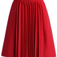 Accordion Pleats Wool Blend Skirt in Red