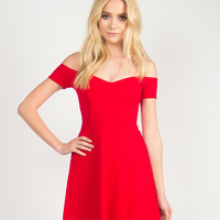 Fit and Flare Off the Shoulder Dress - Red - Red /