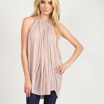 Flowy High Neck Halter Top - Taupe - Taupe /