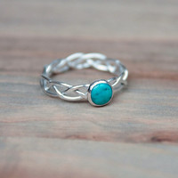 Braided Silver Ring Set With Turquoise Stone -Your Size