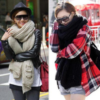 New Lady Knit Wool Pashmina Soft Warm Hood Cowl Warmer Winter Shawl Long Scarf J